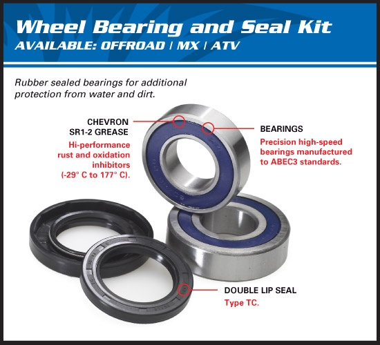 AllBalls Radlager Upgrade Kit hinten Rear Carrier Bearing Upgrade Seal Kit Passend f. siehe DropDown Auswahl