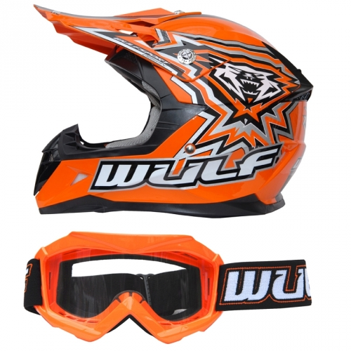 Wulf Kinder Cross Brille + Helm Flite-Xtra S (47-48cm) orange Motorrad Quad Bike Enduro MX BMX Helm