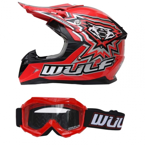 Wulf Kinder Cross Brille + Helm Flite-Xtra S (47-48cm) rot Motorrad Quad Bike Enduro MX BMX Helm