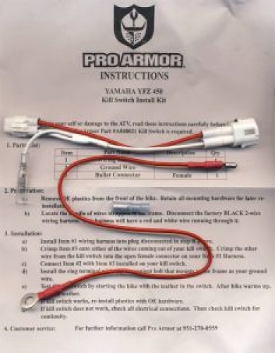 ProArmor Montage Kit f. Kill Switch f. Yamaha YFZ 450
